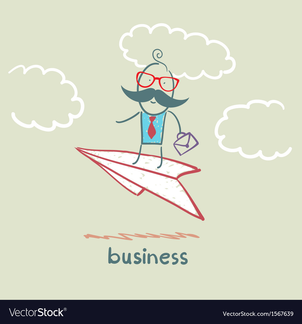 Businessman flying on a paper airplane vector | Price: 1 Credit (USD $1)