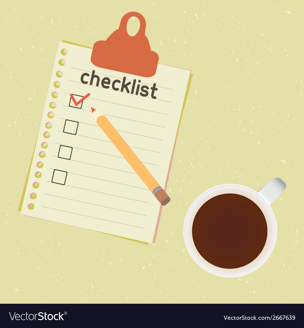 Checklist and cup of coffee vector | Price: 1 Credit (USD $1)