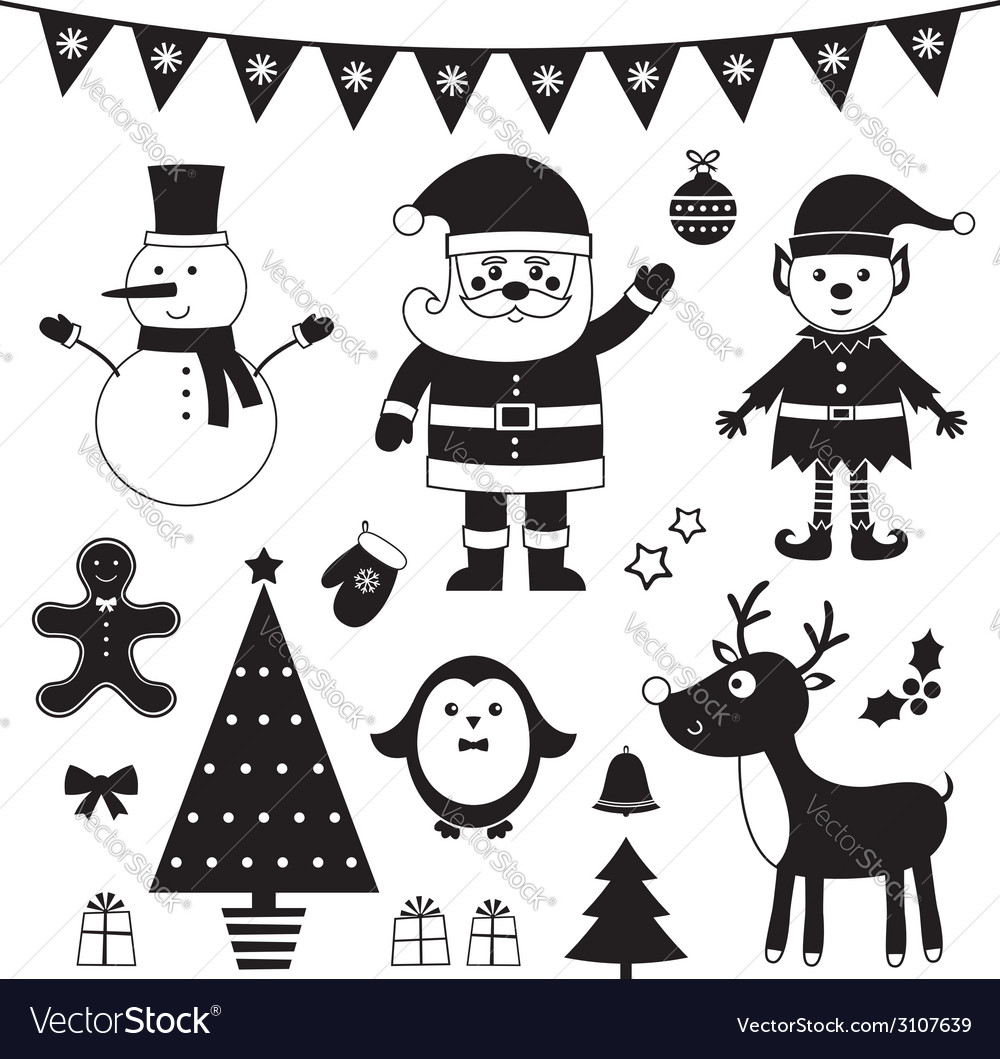 Christmas set isolated black elements vector | Price: 1 Credit (USD $1)