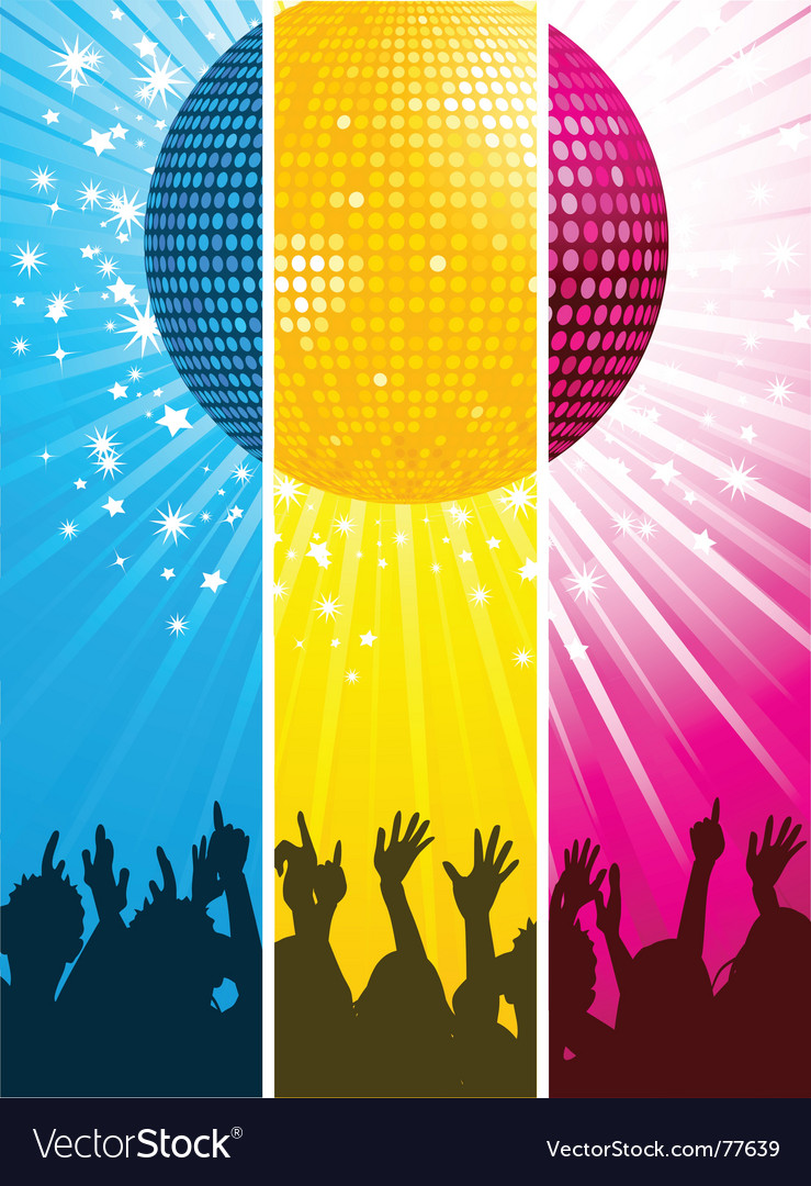 Divided disco ball and crowd vector | Price: 1 Credit (USD $1)