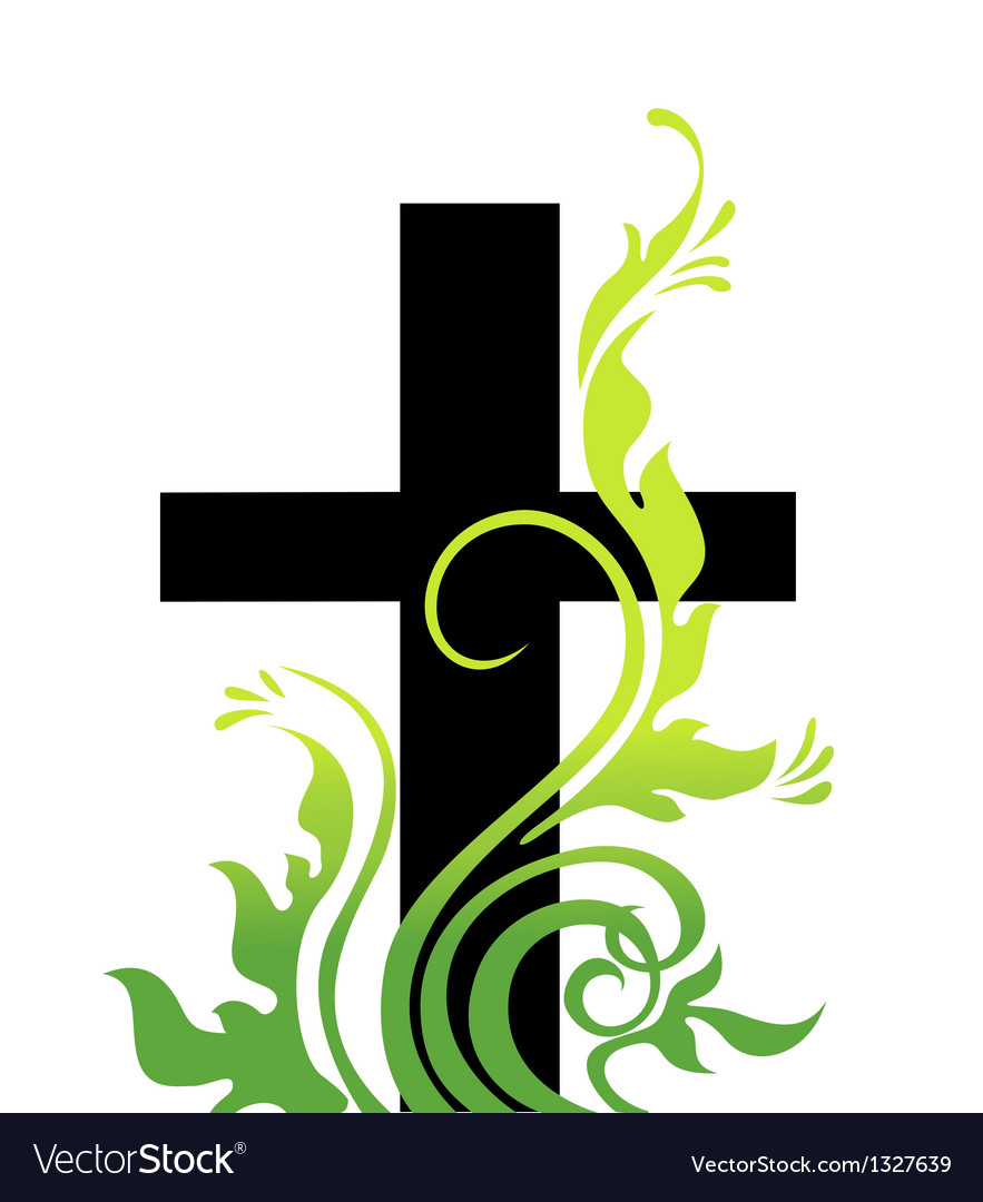 Easter cross and grass vector | Price: 1 Credit (USD $1)