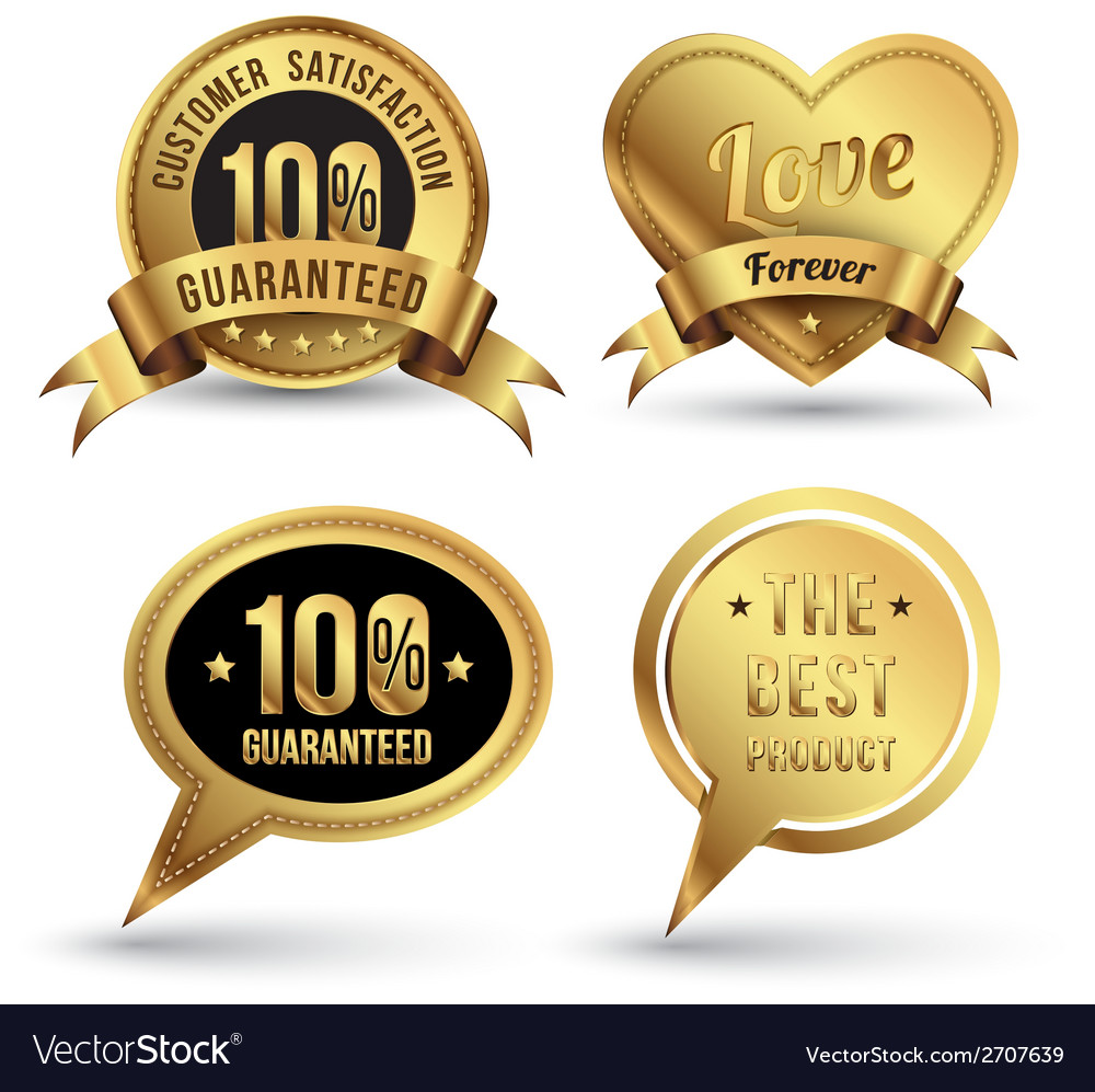 Gold badges set embroidery style vector | Price: 1 Credit (USD $1)