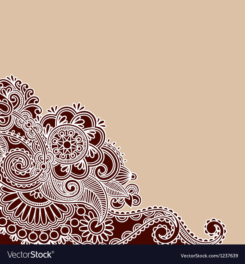 Hand drawn abstract henna doodle design element vector | Price: 1 Credit (USD $1)