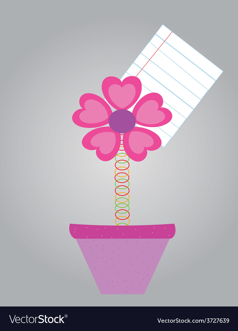 Note paper with flower in pots vector | Price: 1 Credit (USD $1)