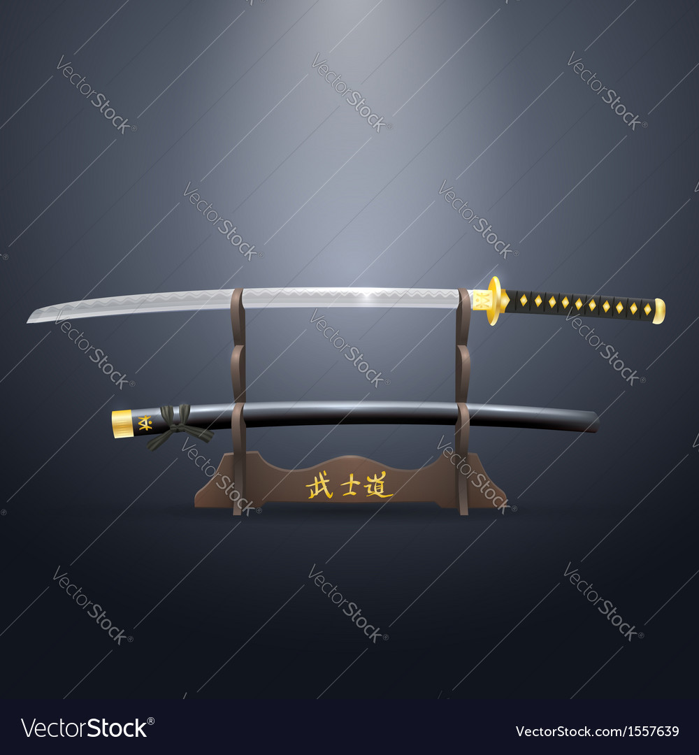 Realistic samurai sword and scabbard on the stand vector | Price: 1 Credit (USD $1)