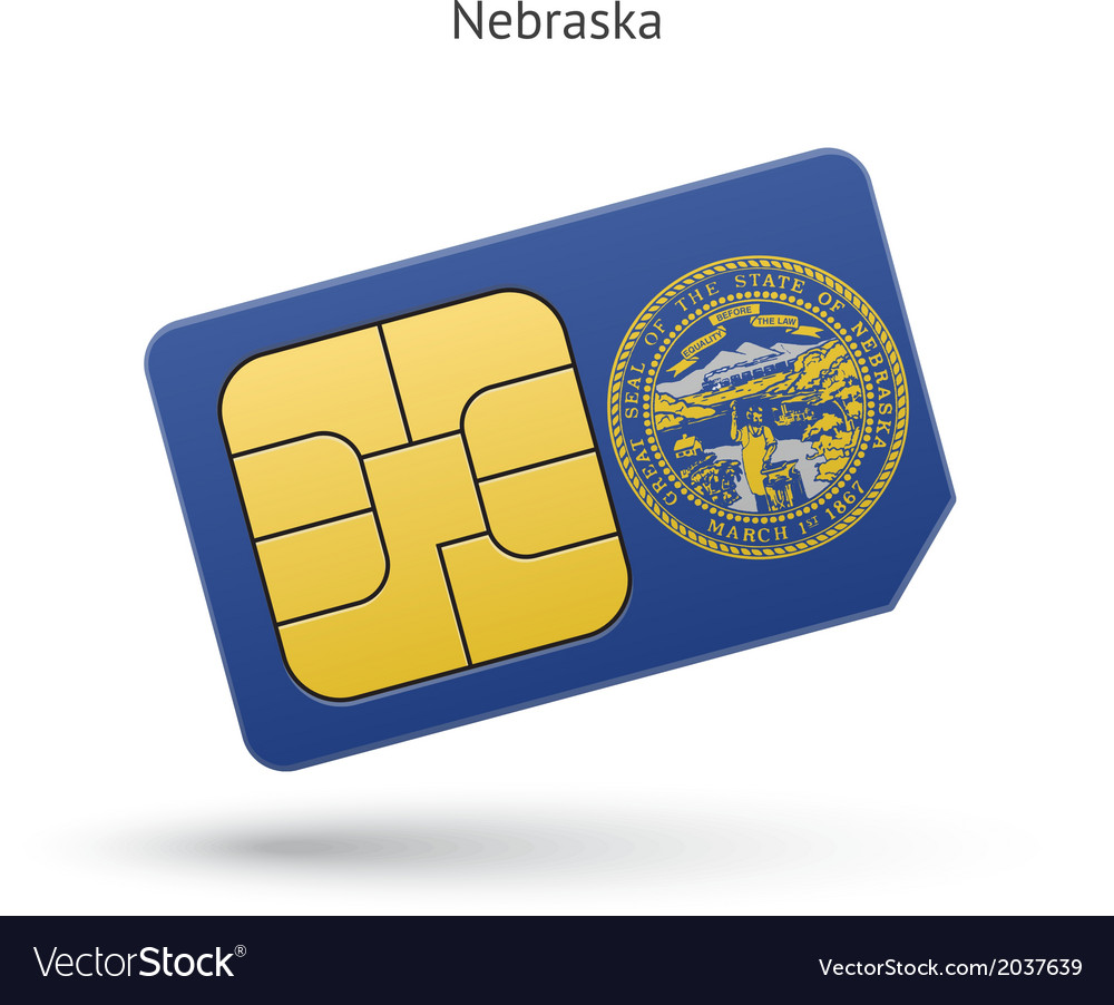 State of nebraska phone sim card with flag vector | Price: 1 Credit (USD $1)
