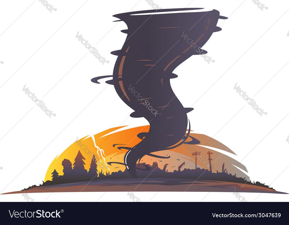 Tornado landscape silhouette vector | Price: 1 Credit (USD $1)
