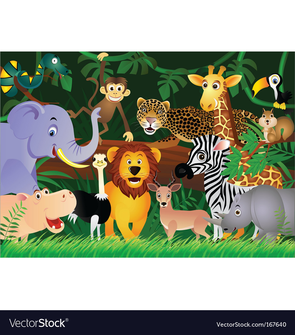 Animal in the jungle vector | Price: 3 Credit (USD $3)
