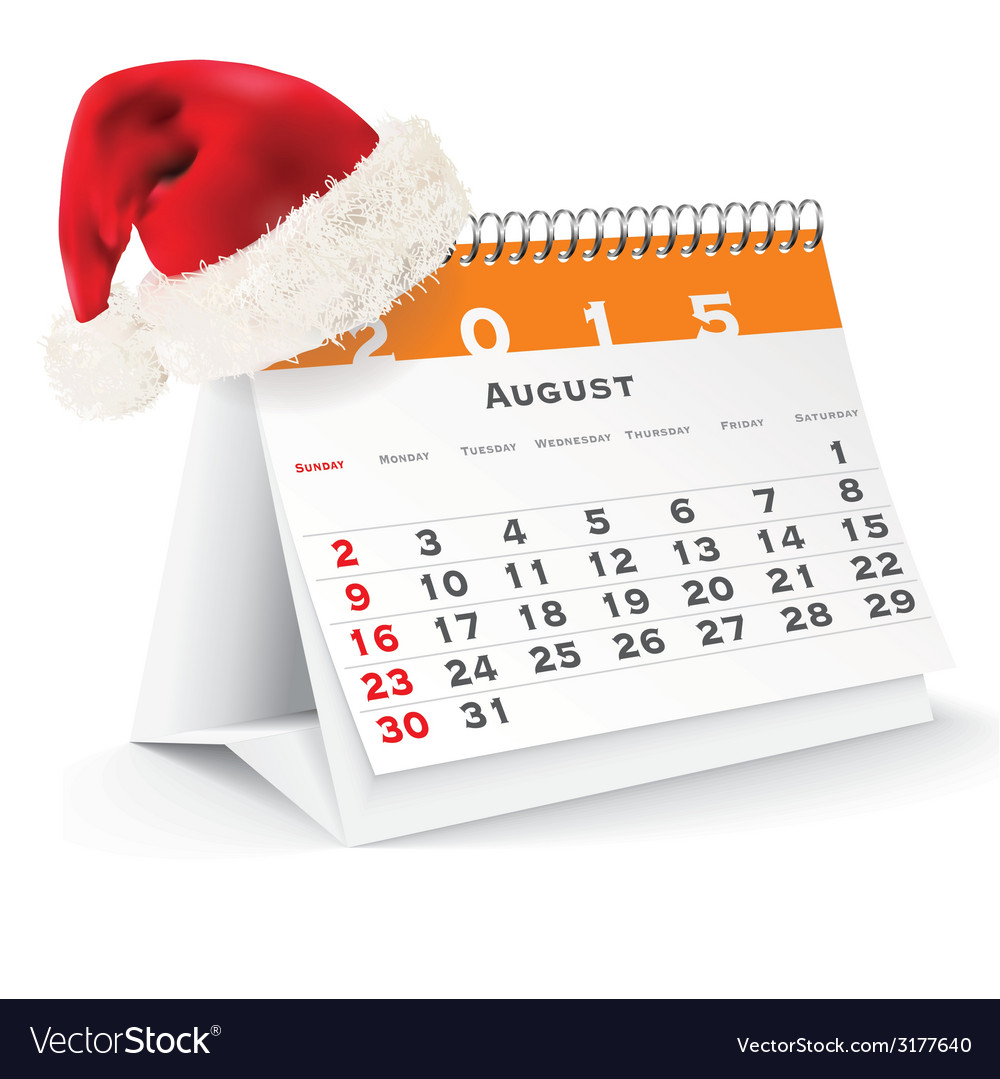 August 2015 desk calendar with christmas hat vector | Price: 1 Credit (USD $1)