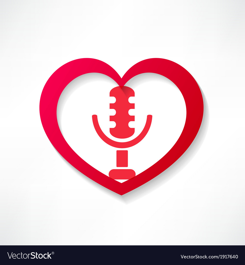 Design element heart with microphone vector   Price: 1 Credit (USD $1)