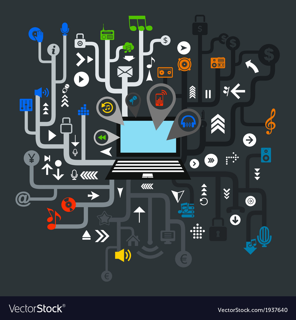Music the computer vector | Price: 1 Credit (USD $1)
