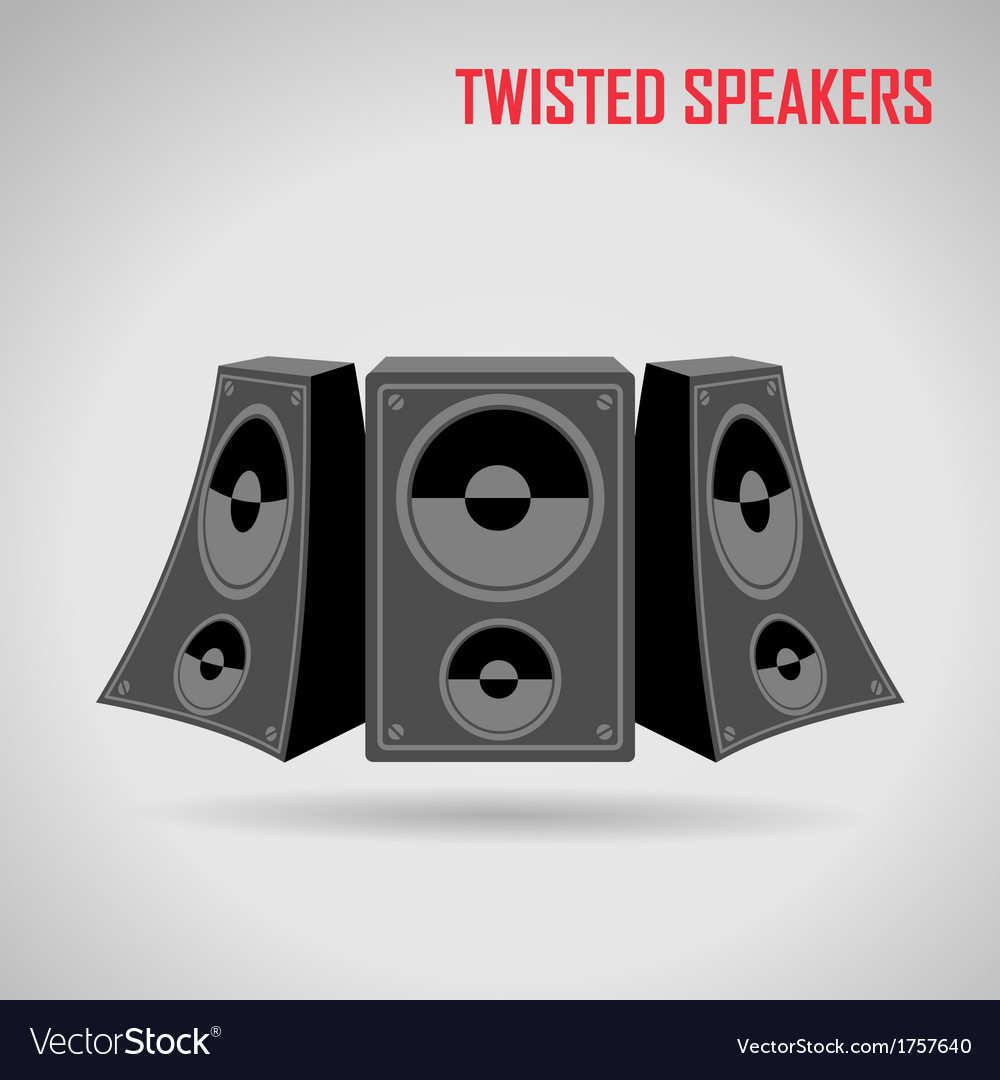 Music twisted speakers on gray vector | Price: 1 Credit (USD $1)