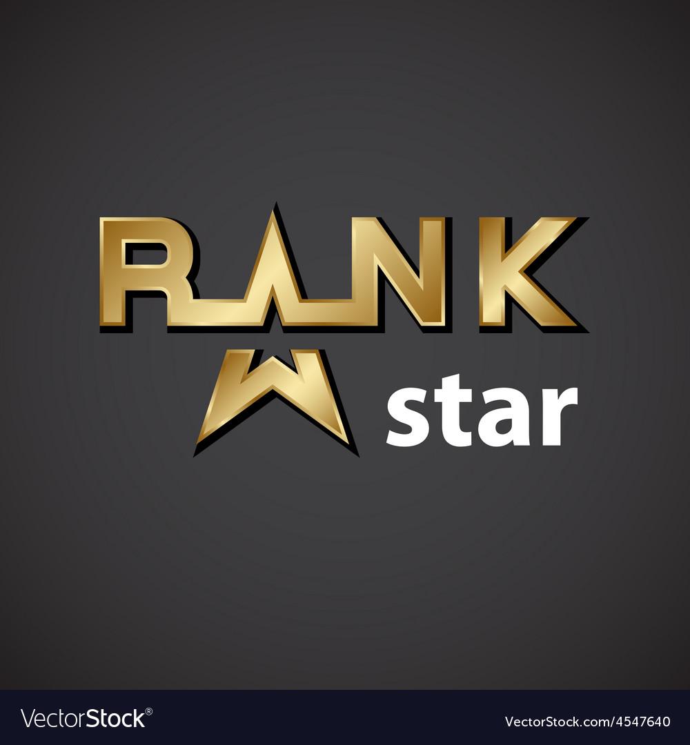 Rank golden star inscription icon vector   Price: 1 Credit (USD $1)