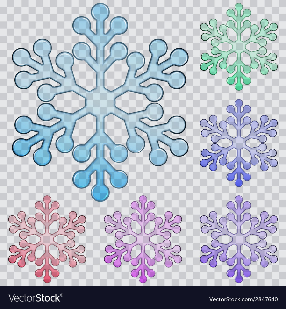 Set of transparent snowflakes vector | Price: 1 Credit (USD $1)
