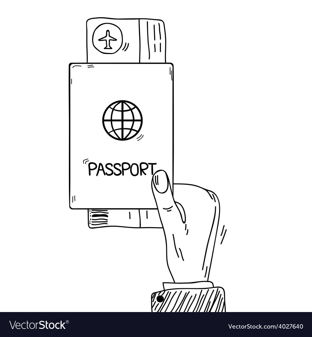 Sketch hand holding passport and air tickets in vector | Price: 1 Credit (USD $1)