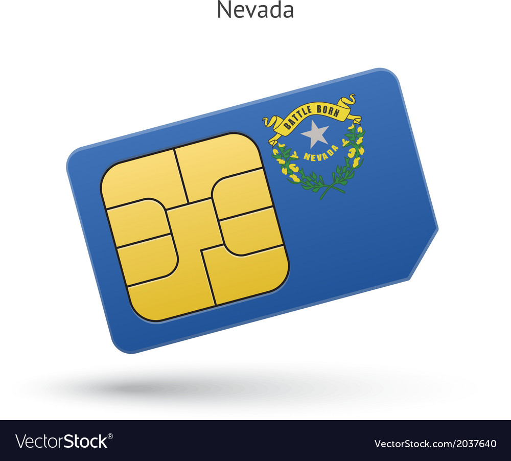 State of nevada phone sim card with flag vector   Price: 1 Credit (USD $1)