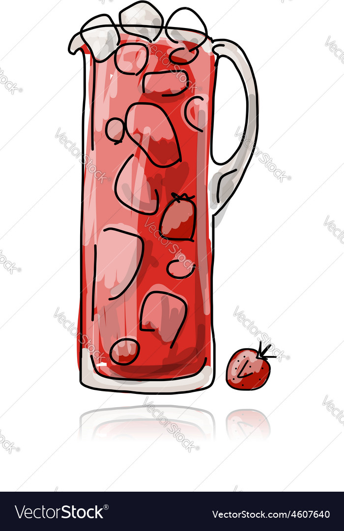 Strawberry cocktail in jug sketch for your design vector | Price: 1 Credit (USD $1)