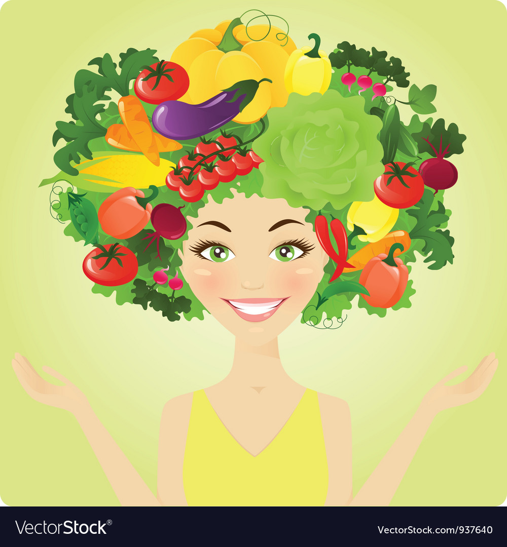 Vegetable woman vector | Price: 3 Credit (USD $3)