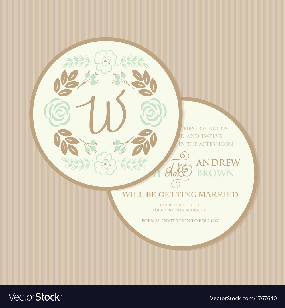 Wedding invitation round vector | Price: 1 Credit (USD $1)