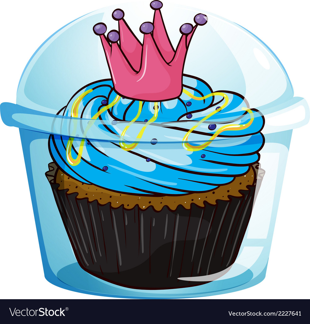 A cupcake with a crown inside the sealed container vector | Price: 1 Credit (USD $1)