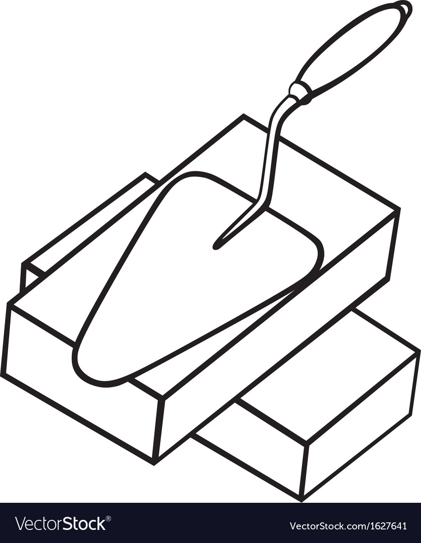 Brick and trowel vector | Price: 1 Credit (USD $1)