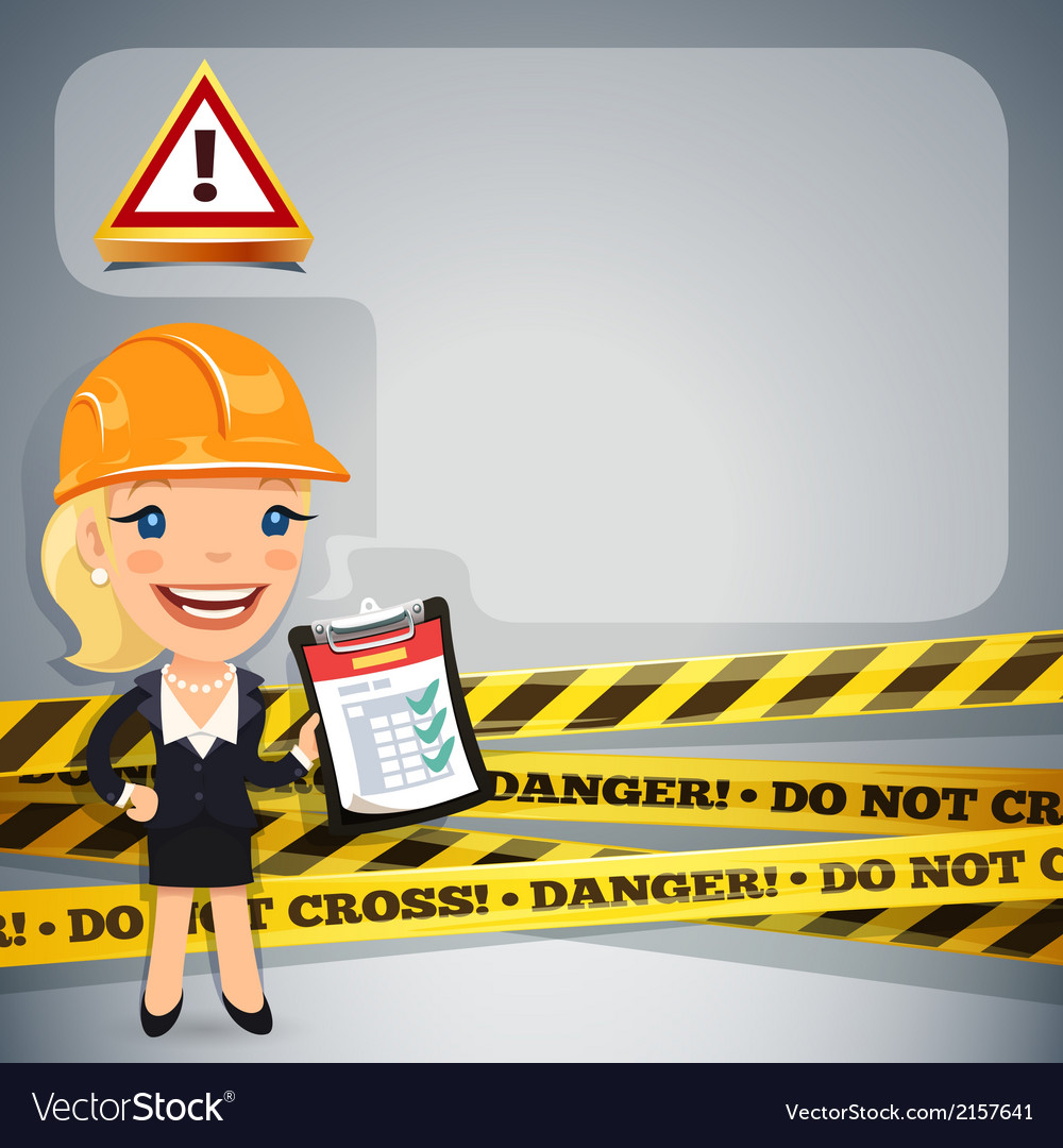 Businesswoman with danger tapes vector | Price: 1 Credit (USD $1)