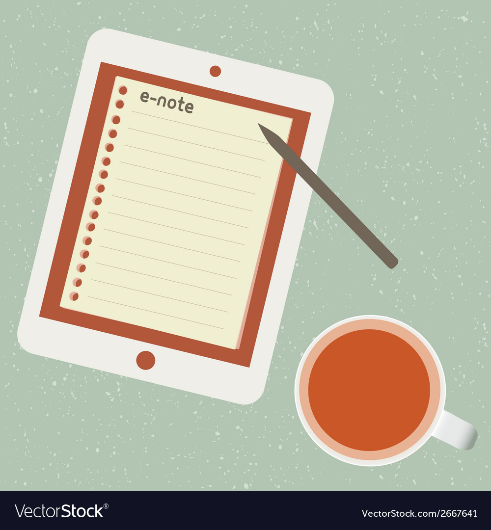 E-note and cup of tea vector | Price: 1 Credit (USD $1)