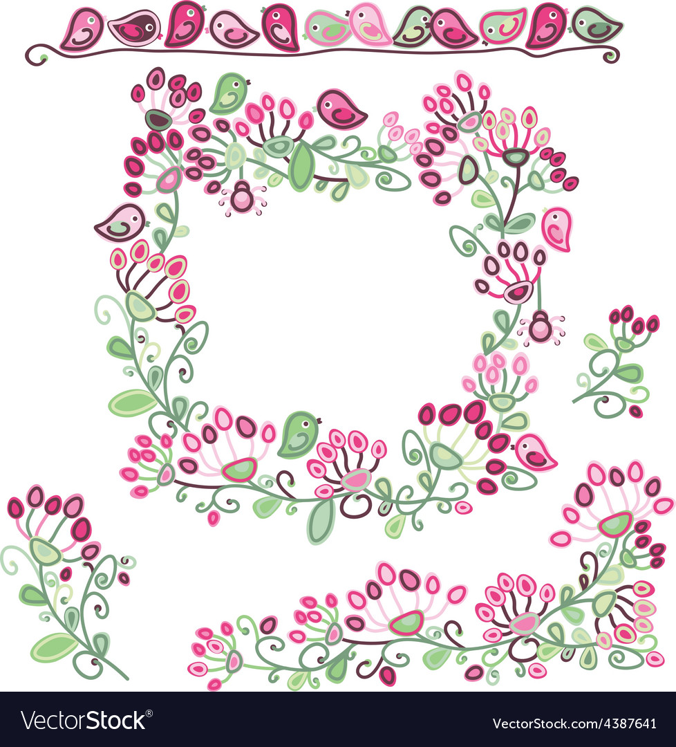 Frame elements floral pattern vector | Price: 1 Credit (USD $1)