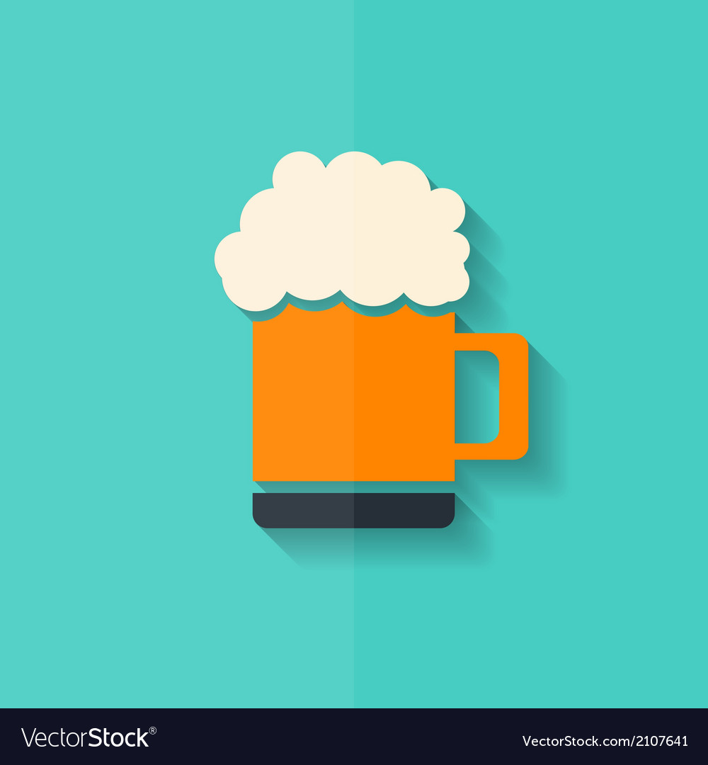Glass of beer web icon flat design vector | Price: 1 Credit (USD $1)