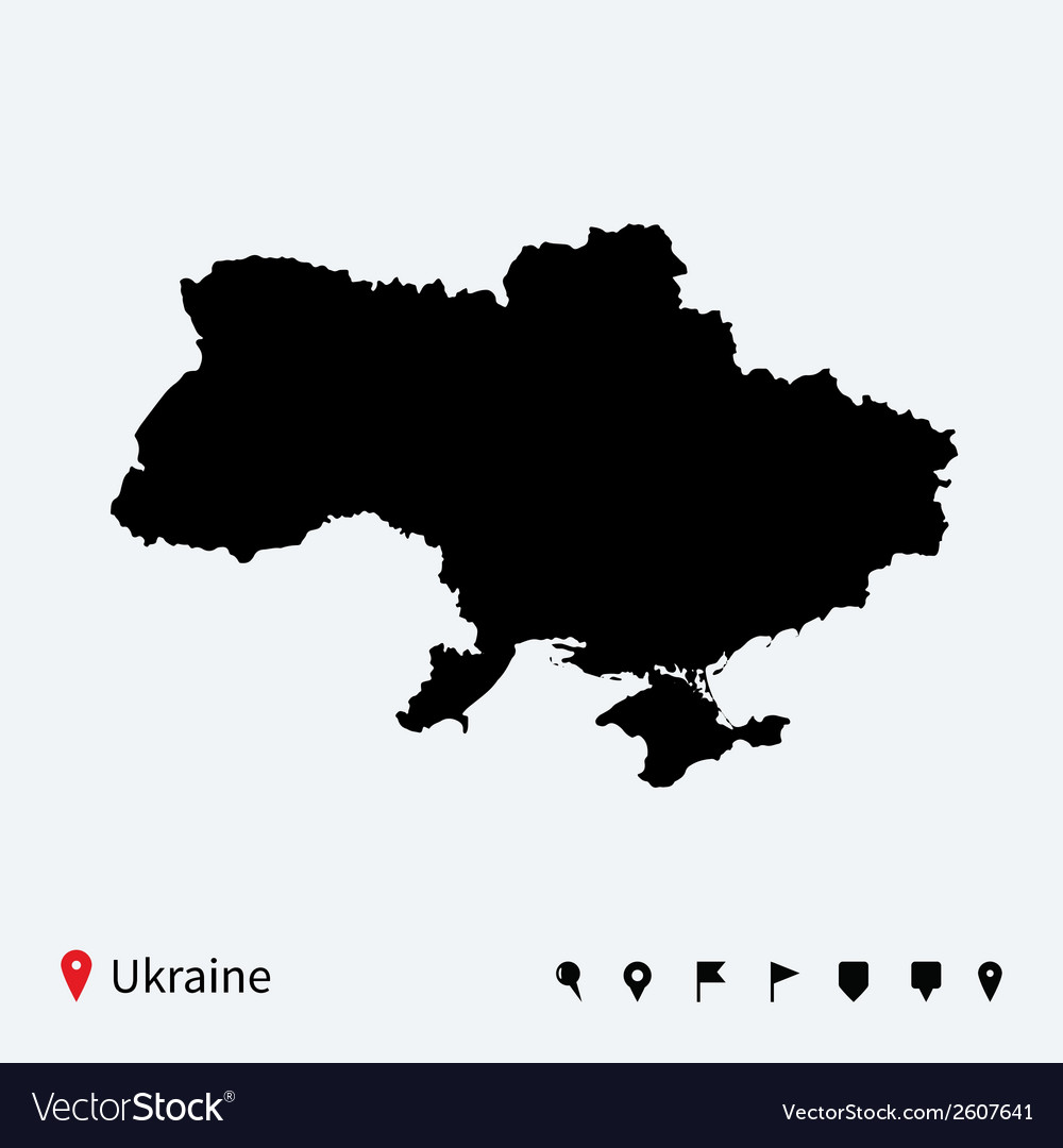 High detailed map of ukraine with navigation pins vector | Price: 1 Credit (USD $1)
