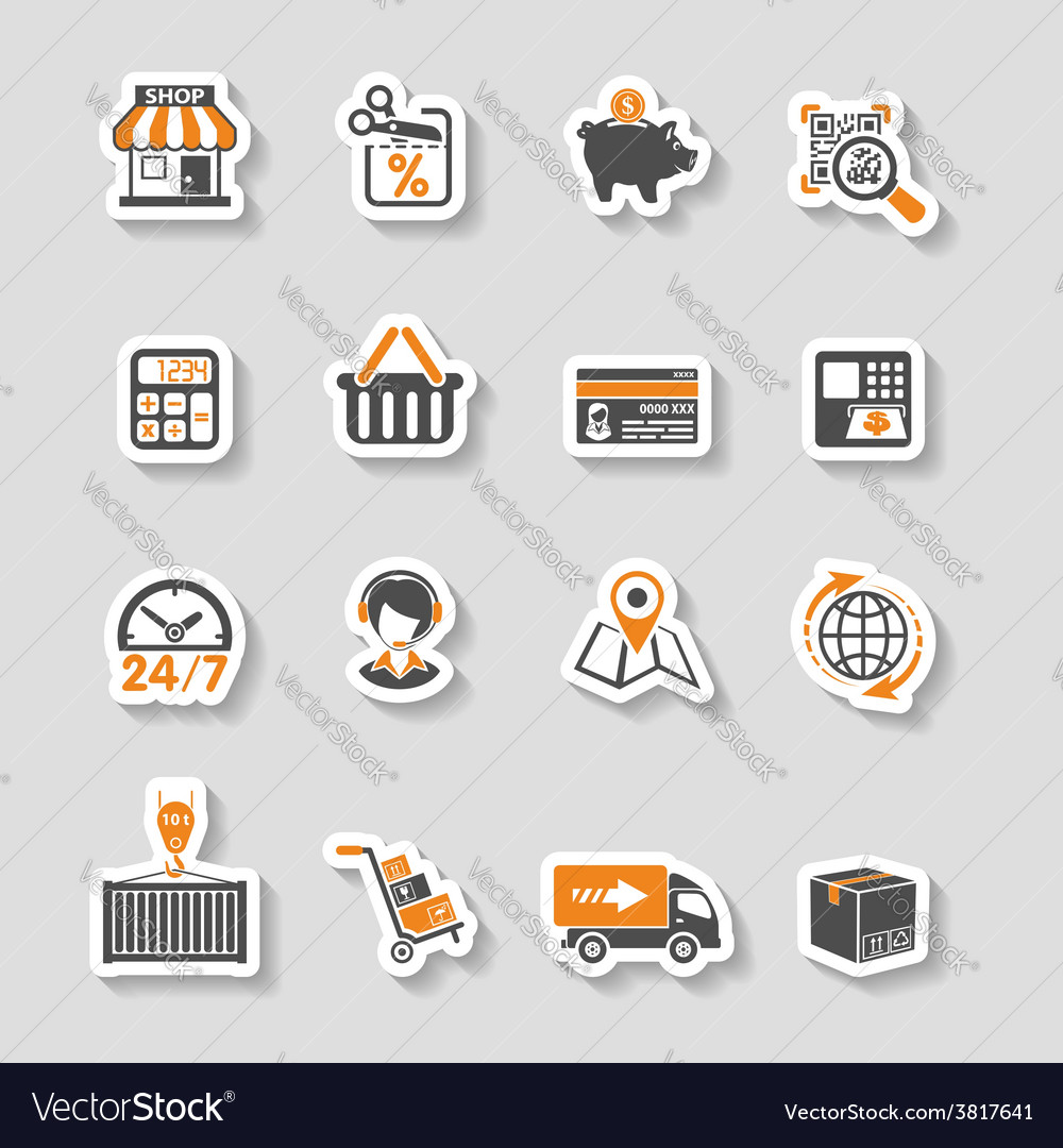 Internet shopping and delivery sticker icon set vector | Price: 1 Credit (USD $1)