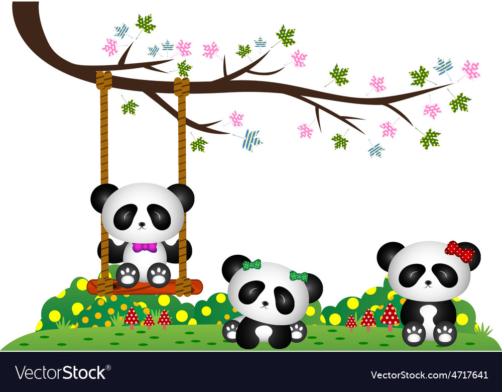 Panda playing under tree branch vector | Price: 1 Credit (USD $1)