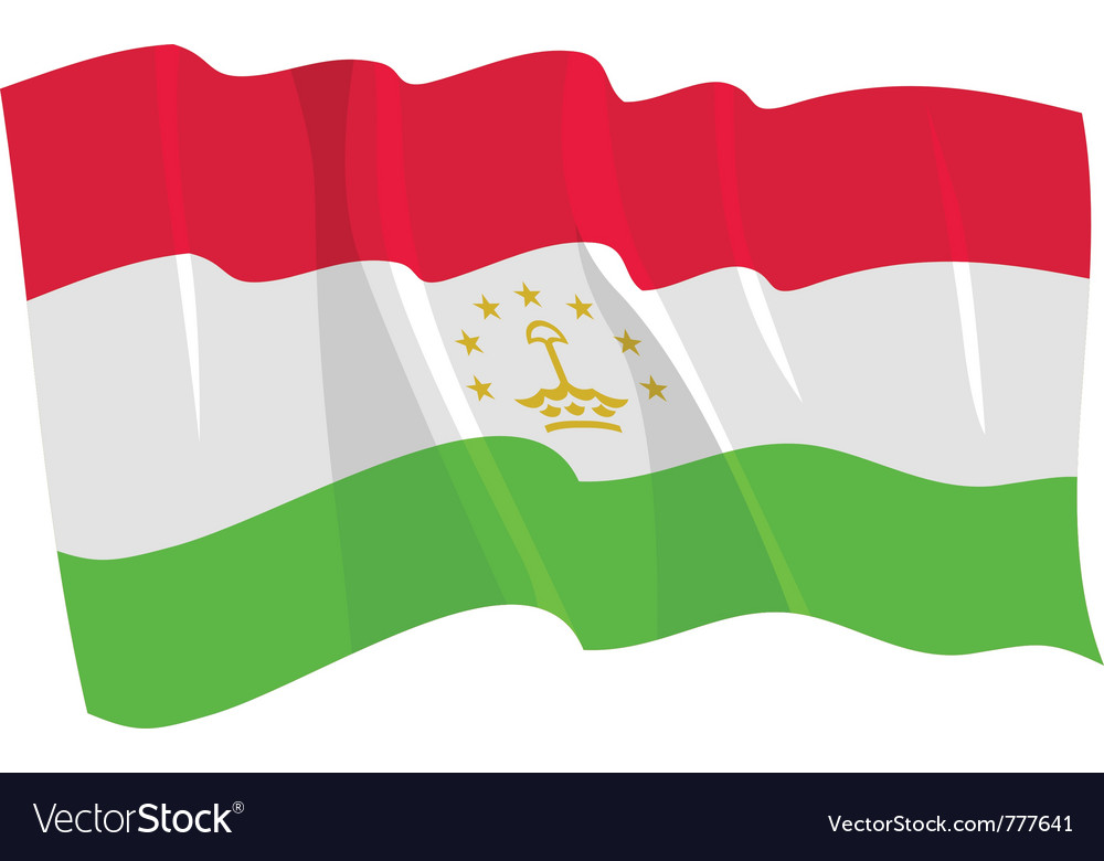Political waving flag of tajikistan vector | Price: 1 Credit (USD $1)
