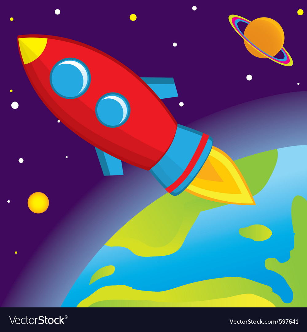 Rocket flies into space vector | Price: 1 Credit (USD $1)
