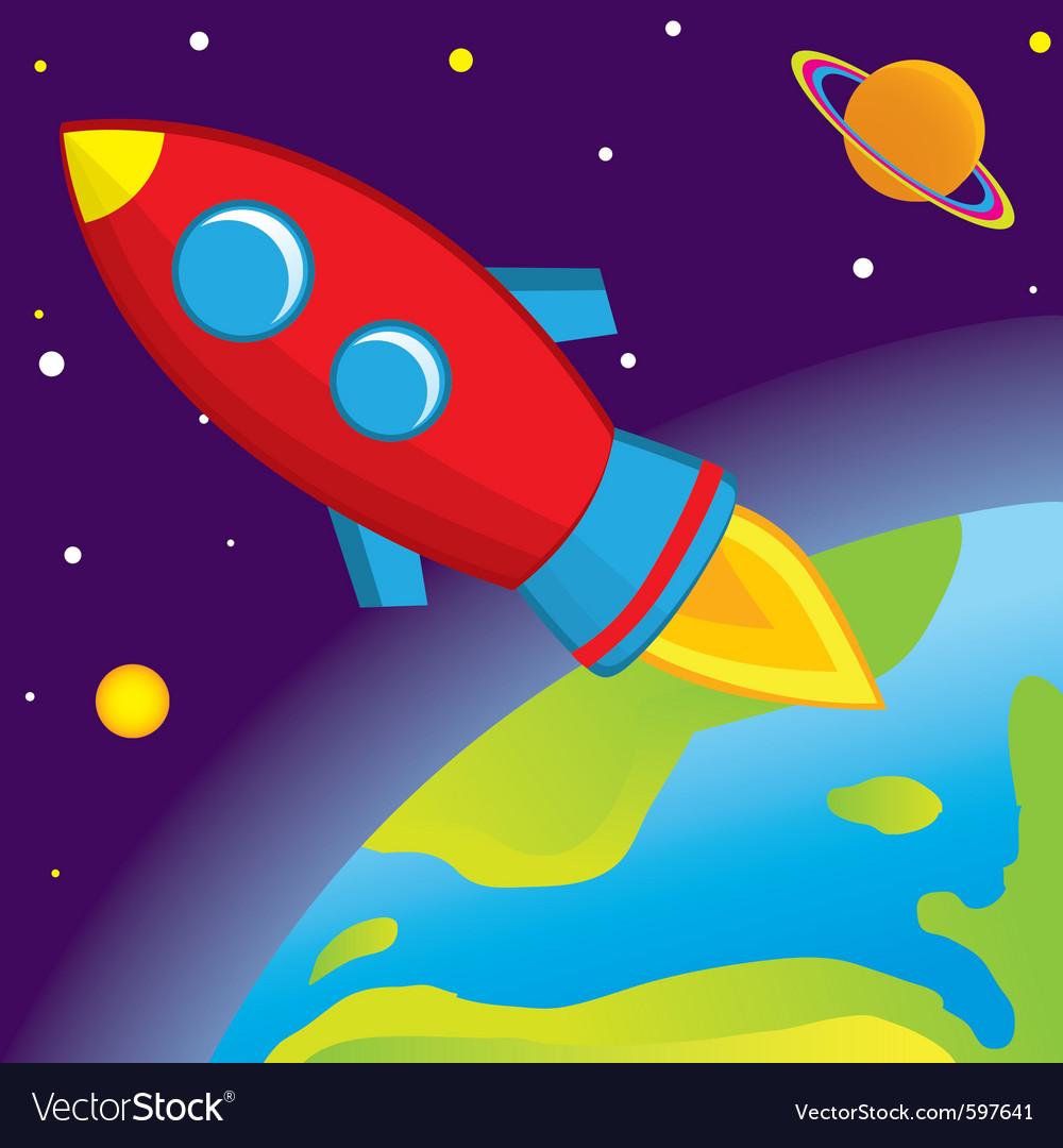Rocket flies into space vector | Price: 1 Credit (USD $1)