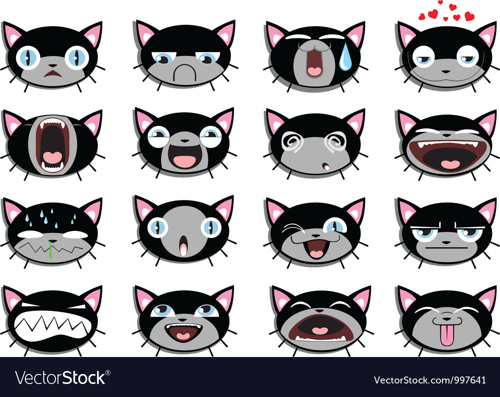 Set of 16 smiley kitten faces vector | Price: 1 Credit (USD $1)