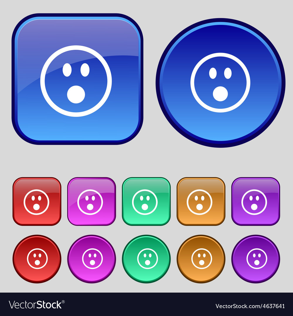 Shocked face smiley icon sign a set of twelve vector | Price: 1 Credit (USD $1)