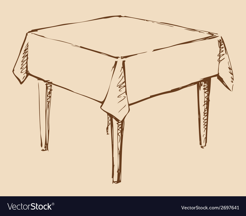 Square table with tablecloth vector | Price: 1 Credit (USD $1)