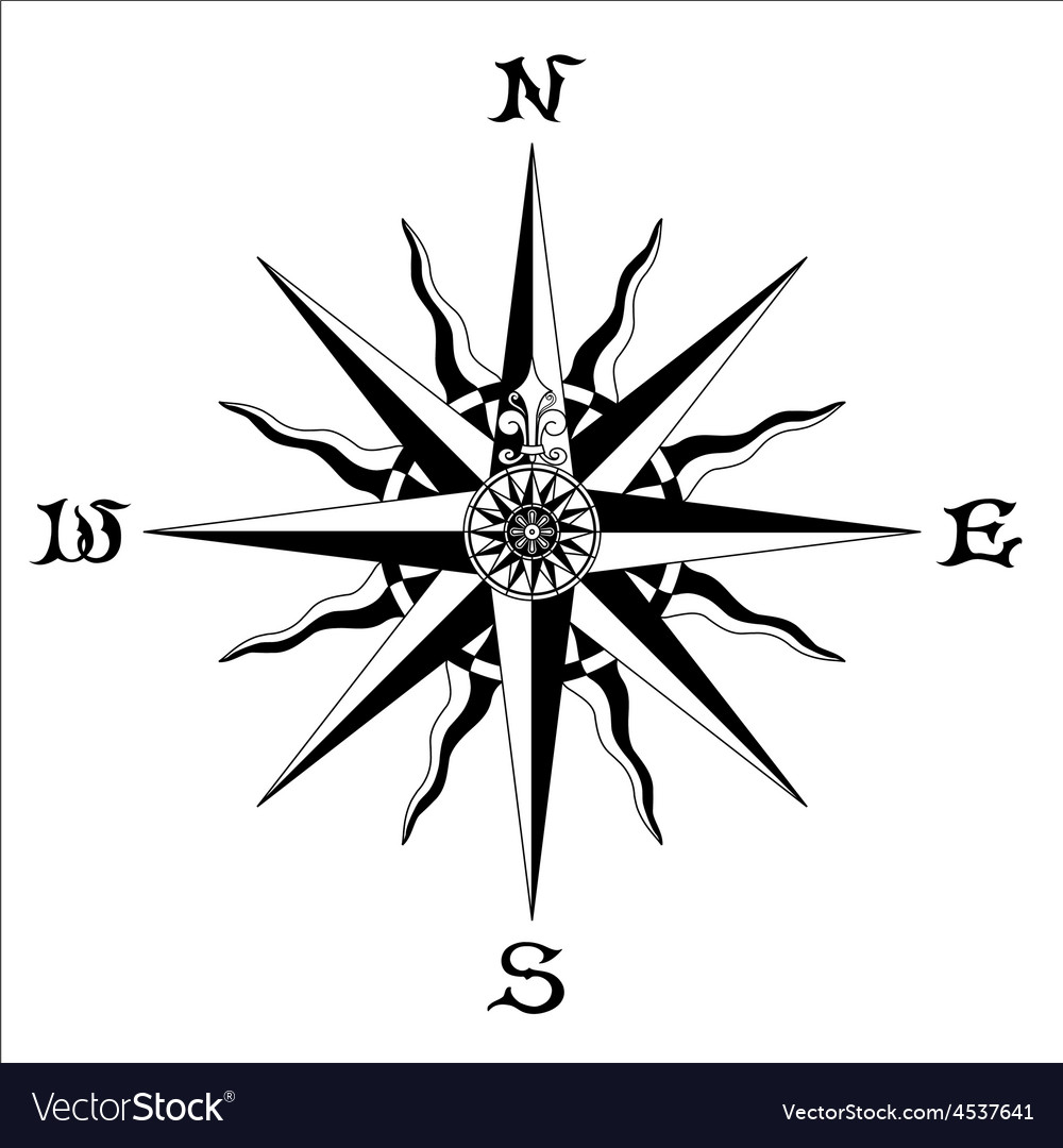 Wind rose black white vector | Price: 1 Credit (USD $1)