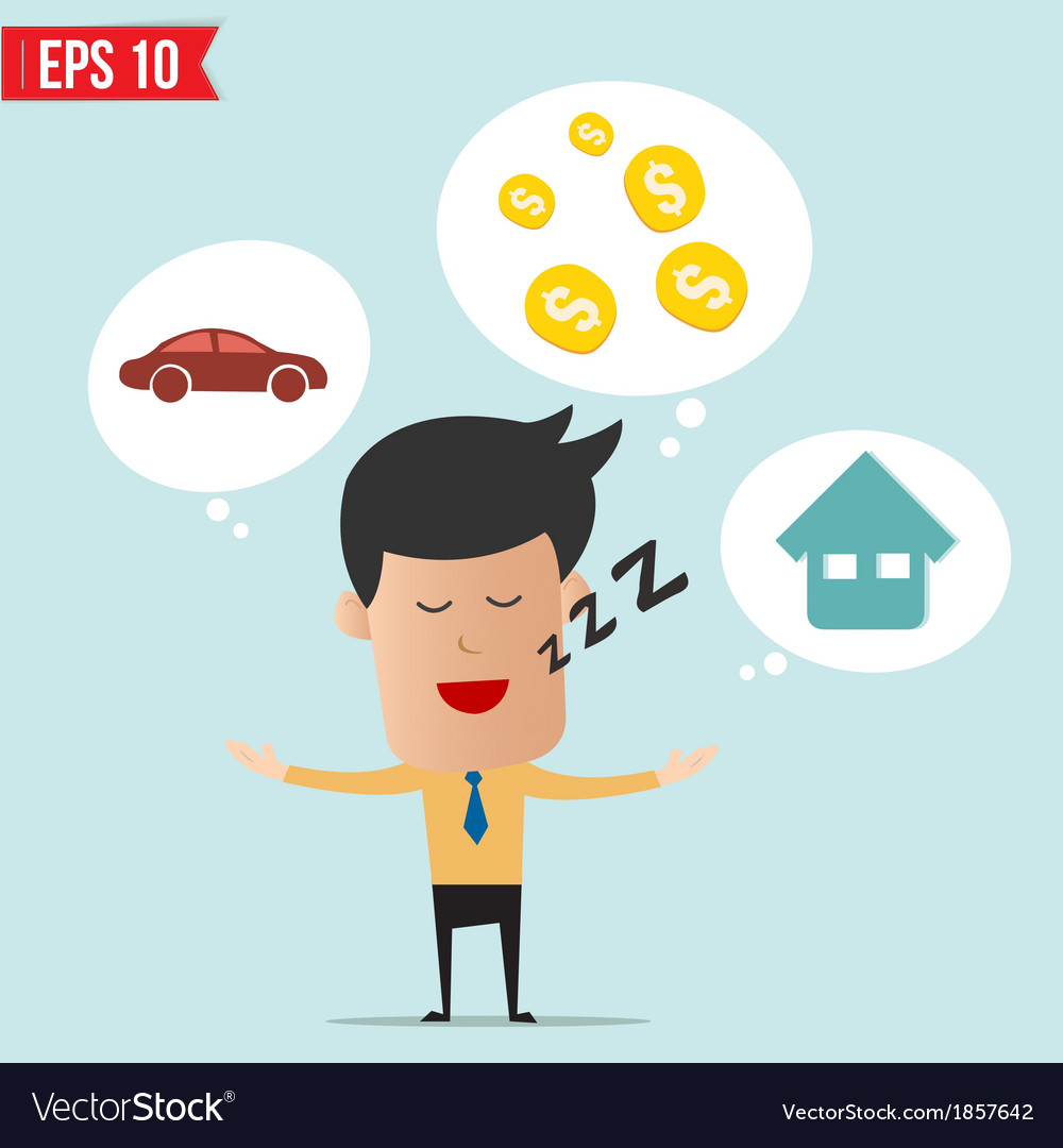 Business man daydream about money house and car vector | Price: 1 Credit (USD $1)