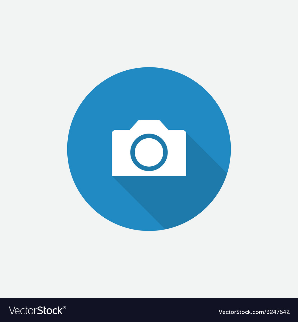 Camera flat blue simple icon with long shadow vector | Price: 1 Credit (USD $1)