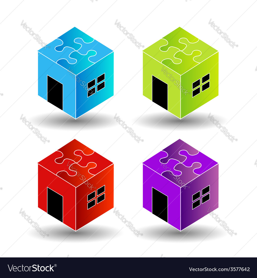 Colorful logos for real estate market with puzzle vector | Price: 1 Credit (USD $1)