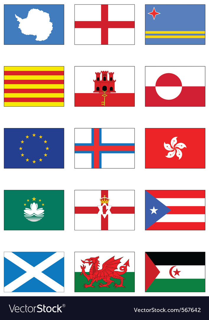 Flag set of world continents and misc countries vector | Price: 1 Credit (USD $1)