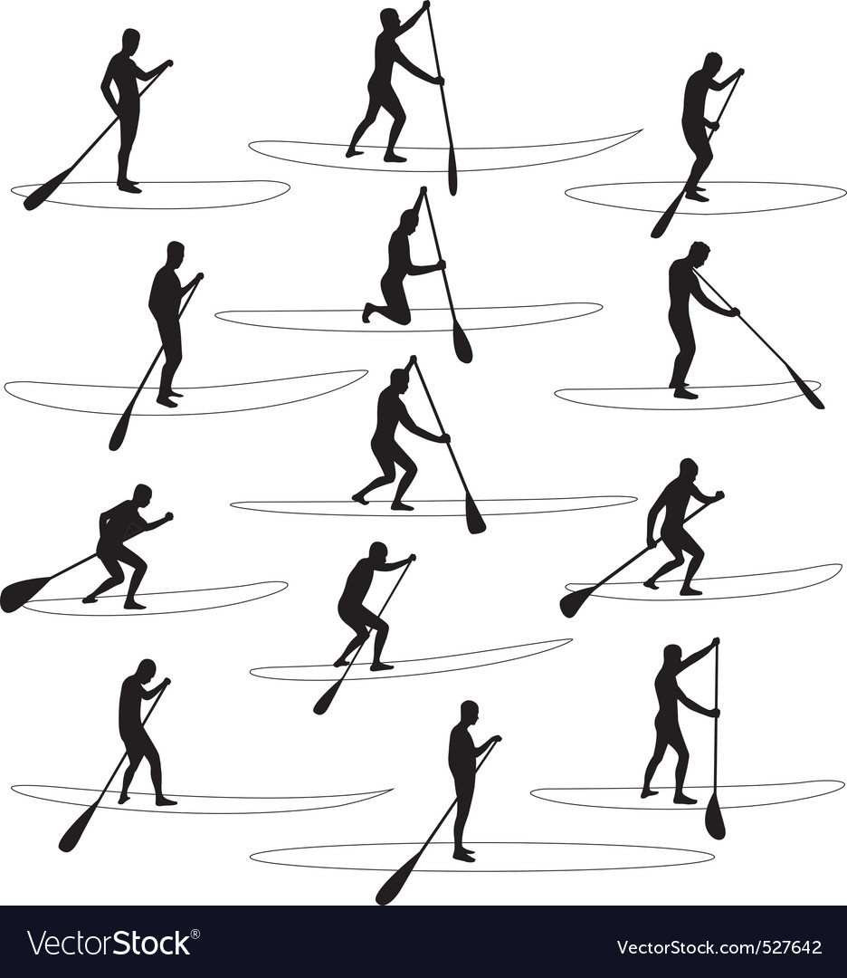 Paddle boarding silhouettes vector | Price: 1 Credit (USD $1)