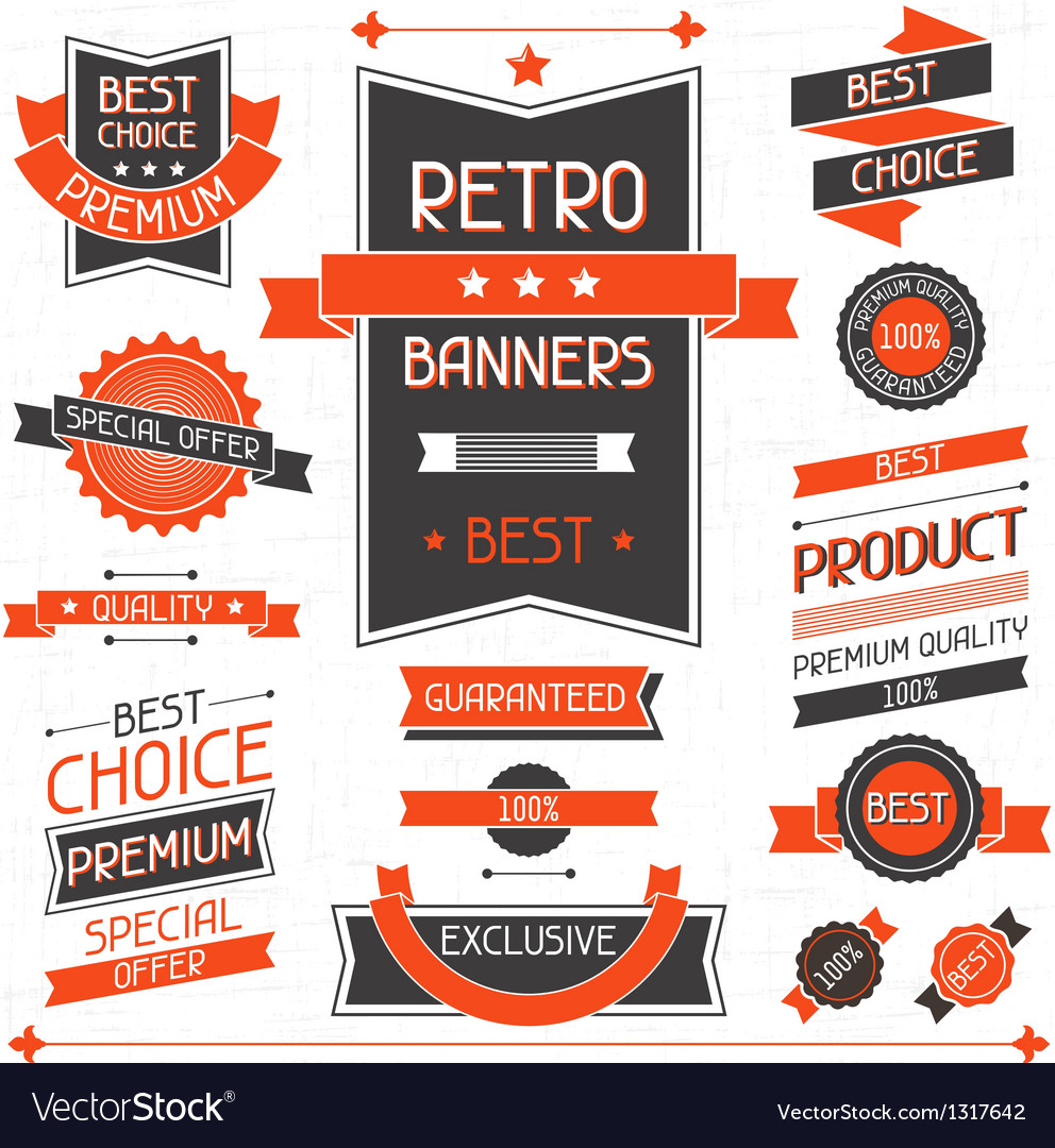 Retro banners set of labels and stickers vector | Price: 3 Credit (USD $3)