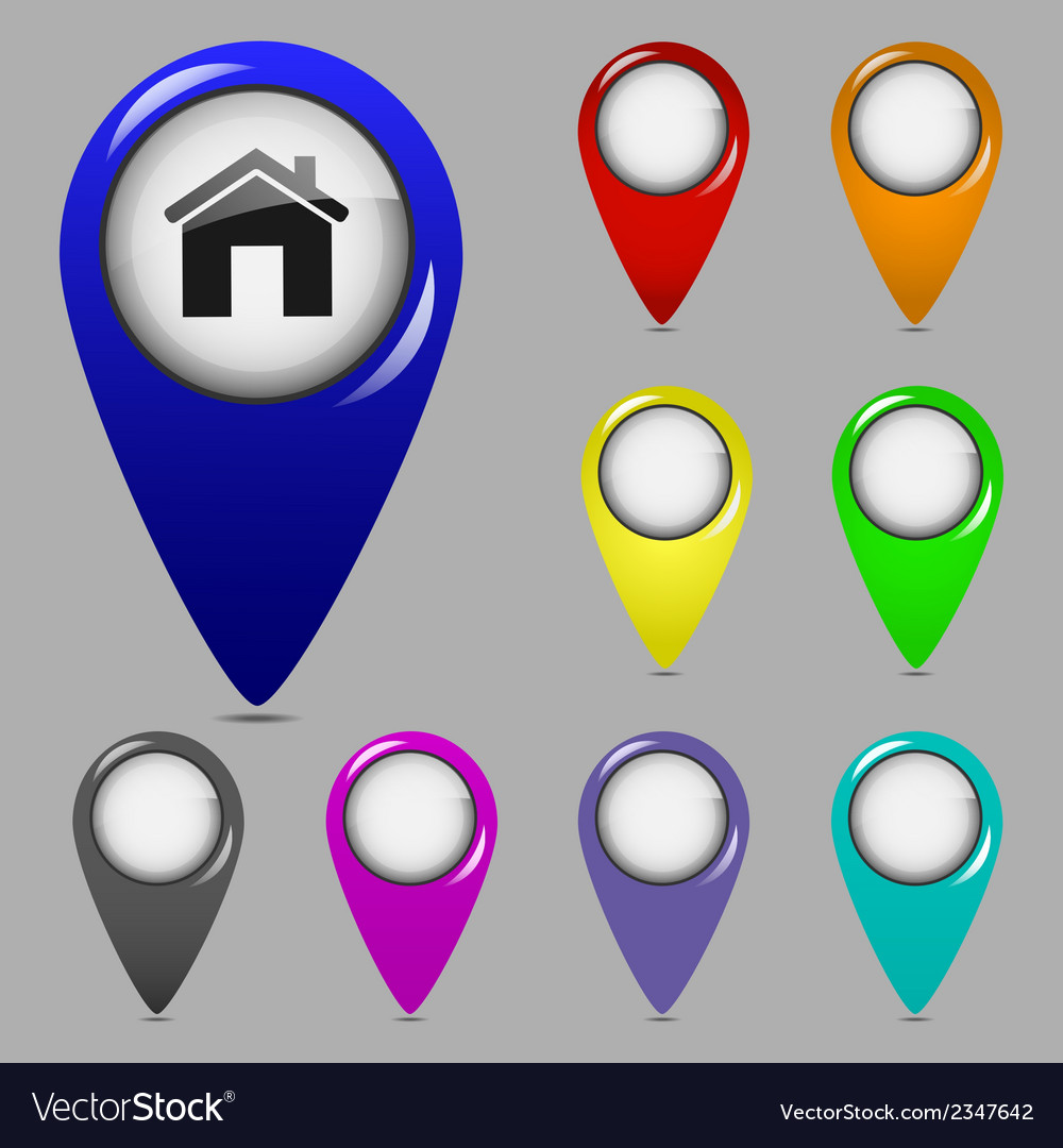 Set of map pointers vector | Price: 1 Credit (USD $1)