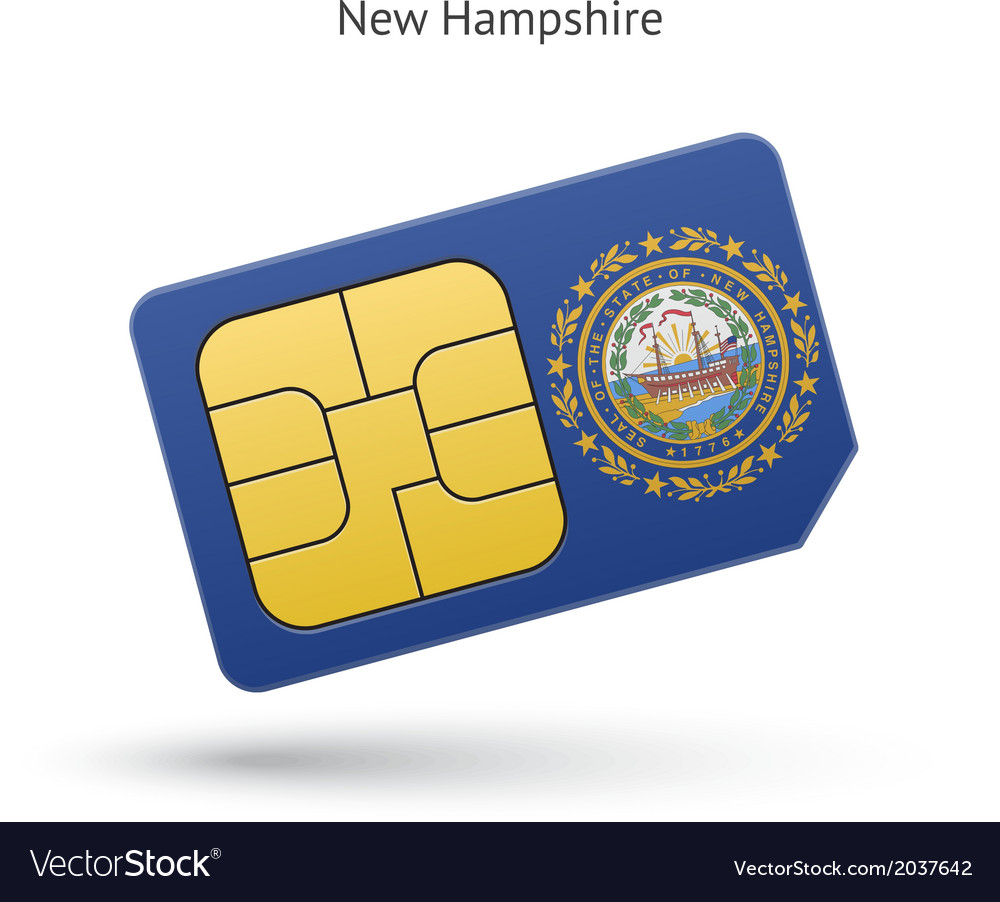 State of new hampshire phone sim card with flag vector | Price: 1 Credit (USD $1)
