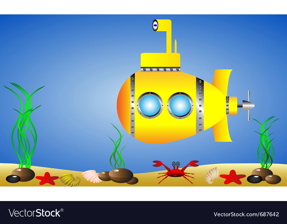 Yellow submarine under water vector | Price: 1 Credit (USD $1)