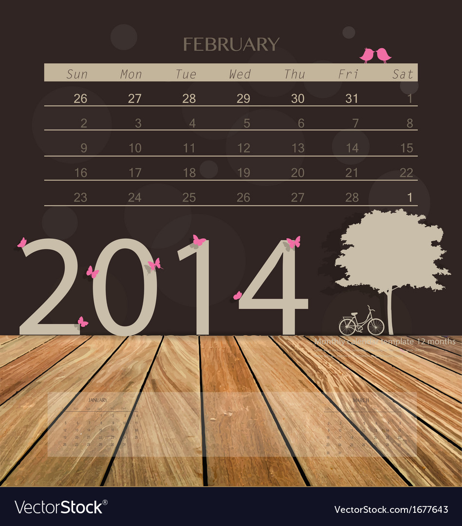 2014 calendar monthly calendar template for vector | Price: 1 Credit (USD $1)