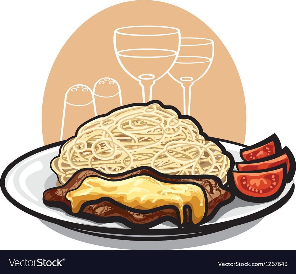 Beef steak and pasta vector | Price: 3 Credit (USD $3)
